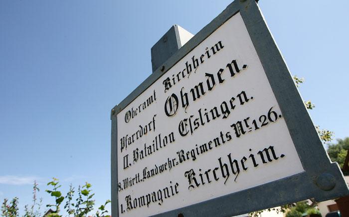 Altes Schild: Landwehr Ohmden